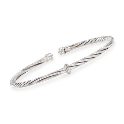 "Phillip Gavriel ""Italian Cable"" Sterling Silver Cuff Bracelet with Diamond Accents"