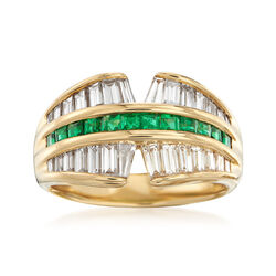 C. 2000 Vintage 1.60 ct. t.w. Baguette Diamond and .60 ct. t.w. Square-Cut Emerald Ring in 18kt Yellow Gold, , default
