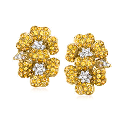 C. 1980 Vintage 8.00 ct. t.w. Yellow Sapphire and 1.20 ct. t.w. Diamond Flower Earrings in 18kt Yellow Gold