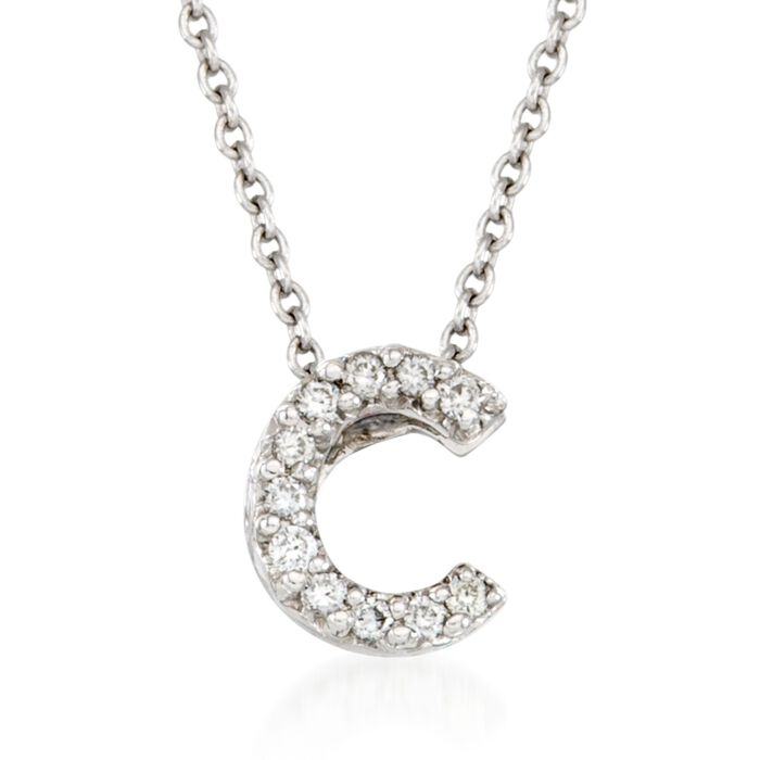"Roberto Coin Tiny Treasures Diamond C Necklace in 18-Karat White Gold. 16"", , default"