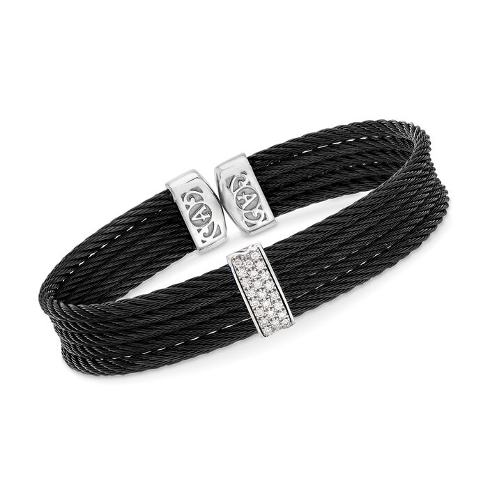 """ALOR """"Classique"""" Black Stainless Steel Cable Cuff Bracelet with .19 ct. t.w. Diamonds and 18kt White Gold. 7"""", , default"""