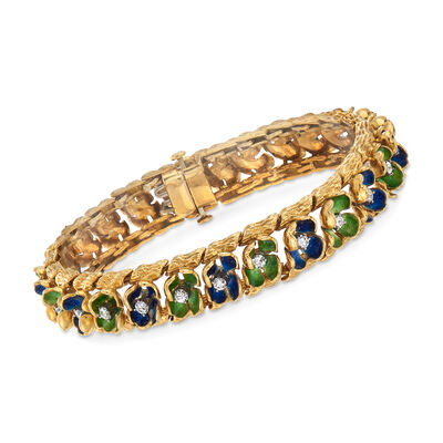 C. 1970 Vintage 1.30 ct. t.w. Diamond Floral Bracelet with Blue and Green Enamel in 18kt Yellow Gold, , default
