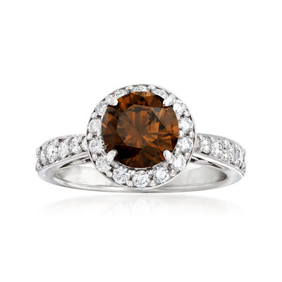 C. 2000 Vintage 2.35 ct. t.w. Brown and White Diamond Halo Ring in 18kt White Gold, , default
