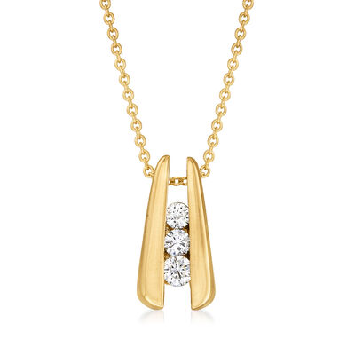 C. 1990 Vintage .25 ct. t.w. Diamond Pendant Necklace in 14kt Yellow Gold