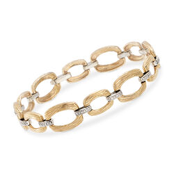 C. 1970 Vintage .60 ct. t.w. Diamond Oval Link Bracelet in 14kt Yellow Gold, , default