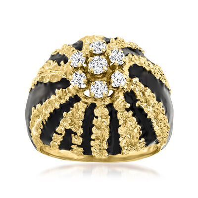 C. 1970 Vintage .42 ct. t.w. Diamond Cluster Ring with Black Enamel in 14kt Yellow Gold