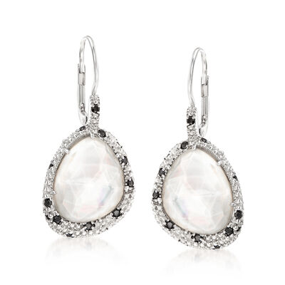"""Phillip Gavriel """"Popcorn"""" Mother-Of-Pearl and Rock Crystal Quartz Drop Earrings with .30 ct. t.w. Black Spinel in Sterling Silver , , default"""
