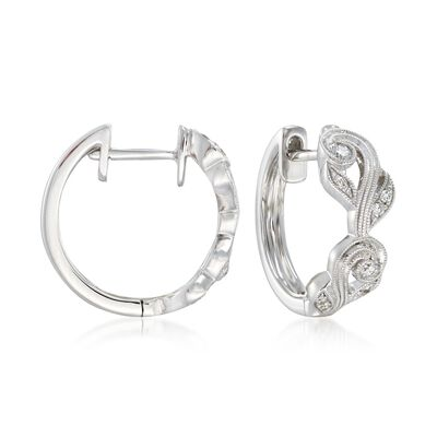 "Simon G. ""Vintage Explorer"" .14 ct. t.w. Diamond Floral Hoop Earrings in 18kt White Gold"