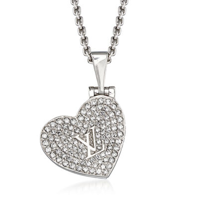 C. 2000 Vintage Louis Vuitton .80 ct. t.w. Diamond Heart Pendant Necklace in 18kt White Gold