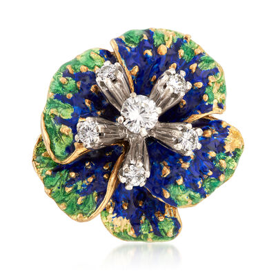 C. 1970 Vintage .50 ct. t.w. Diamond and Enamel Floral Ring in 18kt Yellow Gold, , default