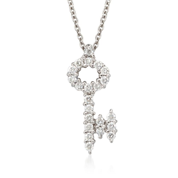 Roberto Coin Tiny Treasures .16 Carat Total Weight Diamond Key Necklace in 18-Karat White Gold, , default