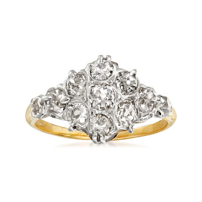 C. 1950 Vintage 1.20 ct. t.w. Diamond Cluster Cocktail Ring in Platinum with 14kt Yellow Gold