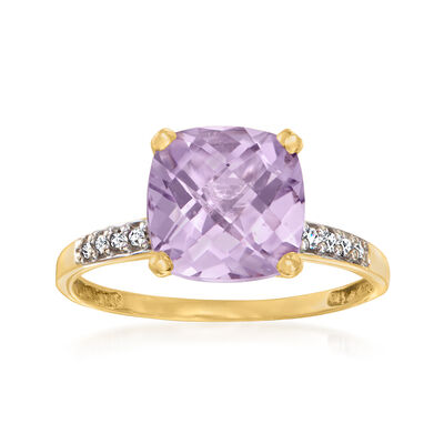C. 1990 Vintage 2.50 Carat Amethyst Ring with Diamond Accents in 14kt Yellow Gold