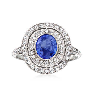 C. 1980 Vintage 1.25 Carat Sapphire Ring with .50 ct. t.w. Diamonds in 18kt White Gold