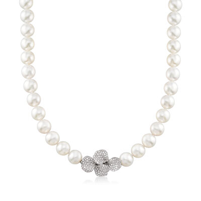 Mikimoto 11.4-11.9mm A+ South Sea Pearl and 2.27 ct. t.w. Diamond Flower Necklace in 18kt White Gold, , default