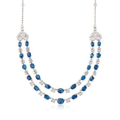C. 1990 Vintage 18.00 ct. t.w. Sapphire and 3.00 ct. t.w. Diamond Two-Strand Necklace in 18kt White Gold, , default