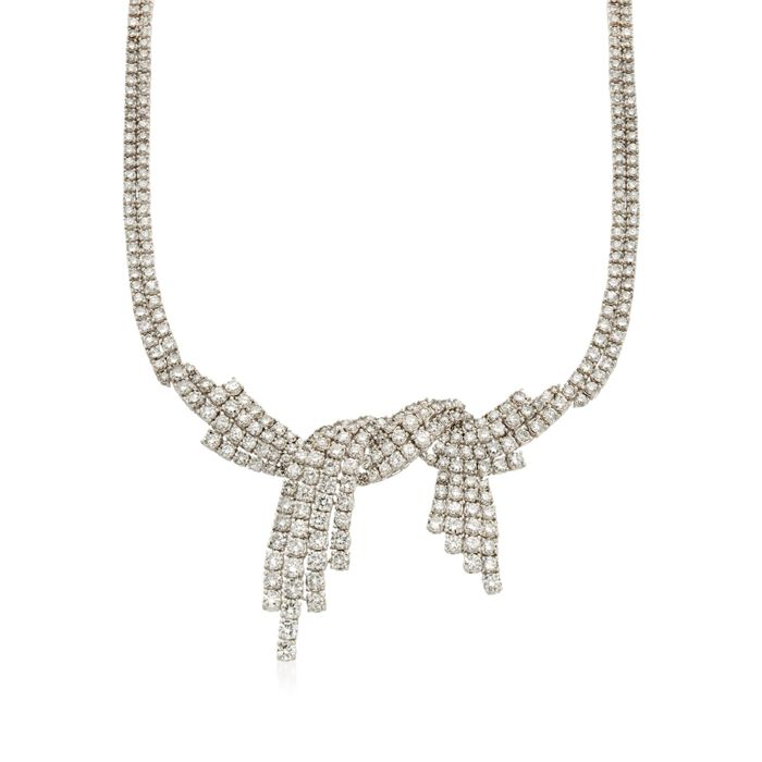"""C. 1985 Vintage 25.00 ct. t.w. Diamond Bow Necklace in 18kt White Gold. 18"""""""
