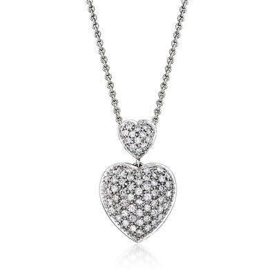 C. 1990 Vintage 1.25 ct. t.w. Diamond Heart Pendant Necklace in Sterling Silver and 18kt White Gold, , default