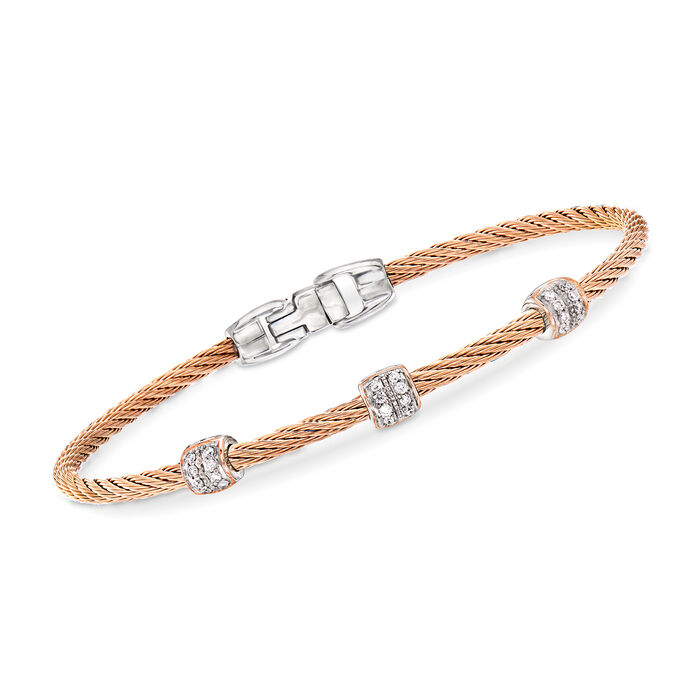 """ALOR """"Classique"""" .21 ct. t.w. Diamond Blush Stainless Steel Cable Station Bracelet with 18kt Rose Gold"""