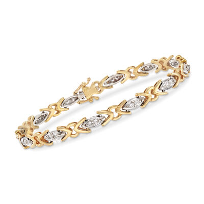 C. 1990 Vintage 1.00 ct. t.w. Diamond XO Bracelet in 18kt Two-Tone Gold, , default