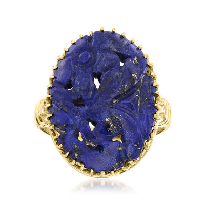 C. 1950 Vintage Lapis Carved Ring in 14kt Yellow Gold