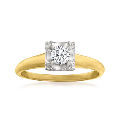 C. 1970 Vintage .20 Carat Diamond Ring in 14kt Two-Tone Gold