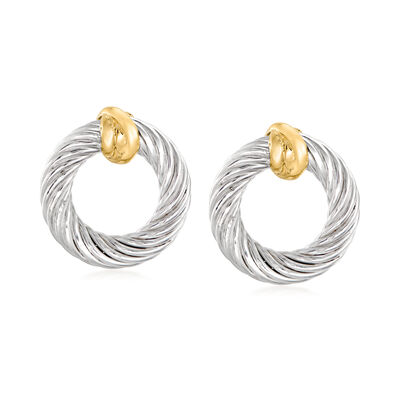 "Phillip Gavriel ""Italian Cable"" Sterling Silver Oval Knot Earrings with 18kt Yellow Gold"