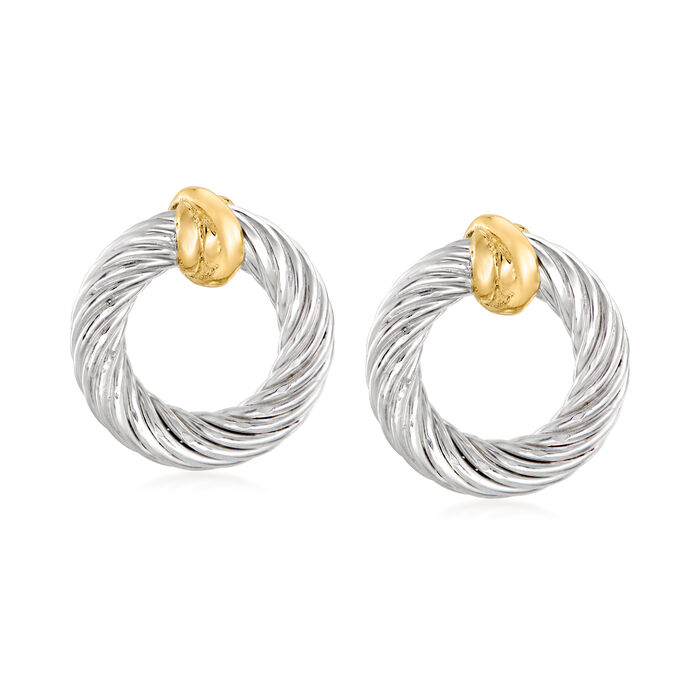 """Phillip Gavriel """"Italian Cable"""" Sterling Silver Oval Knot Earrings with 18kt Yellow Gold"""