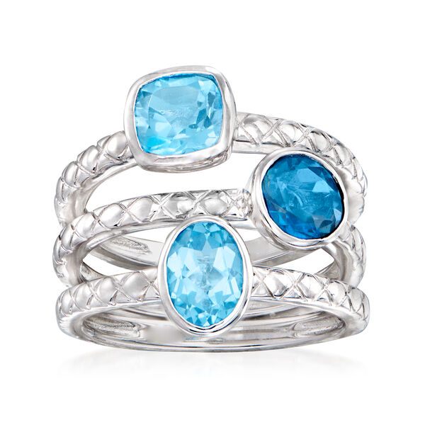 4.00 ct. t.w. Blue Topaz Jewelry Set: Three Rings in Sterling Silver. #933659