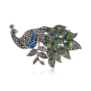 Blue and Green Enamel and Marcasite Peacock Pin with Garnet Accent in Sterling Silver #903255