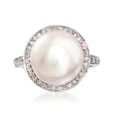 C. 1990 Vintage Mimi Milano 13.5mm Cultured Pearl and .45 ct. t.w. Diamond Ring in 18kt White Gold