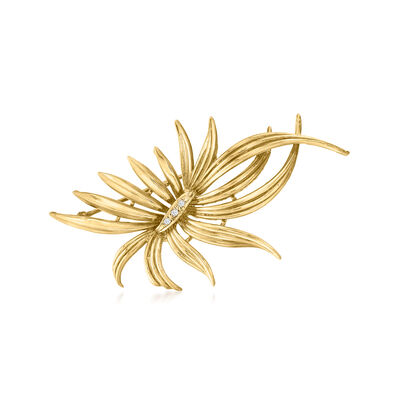 C. 2000 Vintage Diamond-Accented Flower Pin in 14kt Yellow Gold