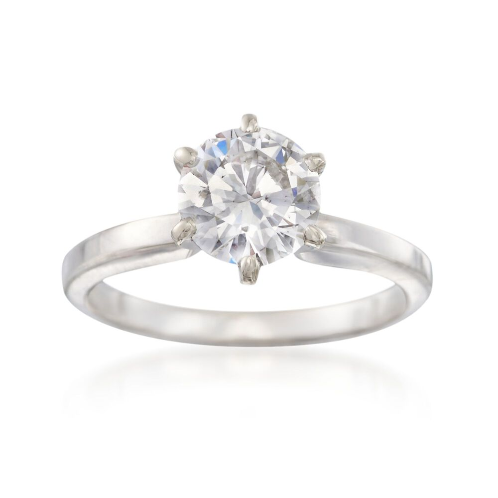 C 2000 Vintage 1 35 Carat Diamond Solitaire Ring In 14kt White Gold