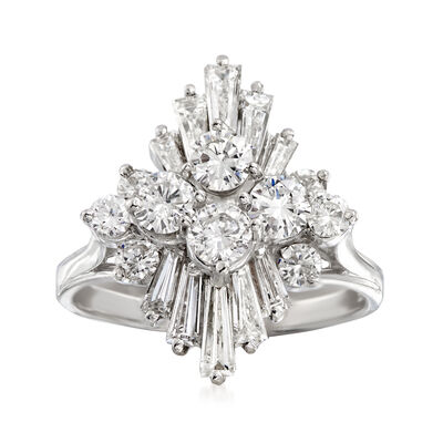 C. 1970 Vintage 2.15 ct. t.w. Diamond Cluster Ring in 14kt White Gold, , default