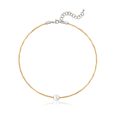 "ALOR ""Classique"" Yellow Stainless Steel Cable and 8mm Cultured Pearl Necklace"