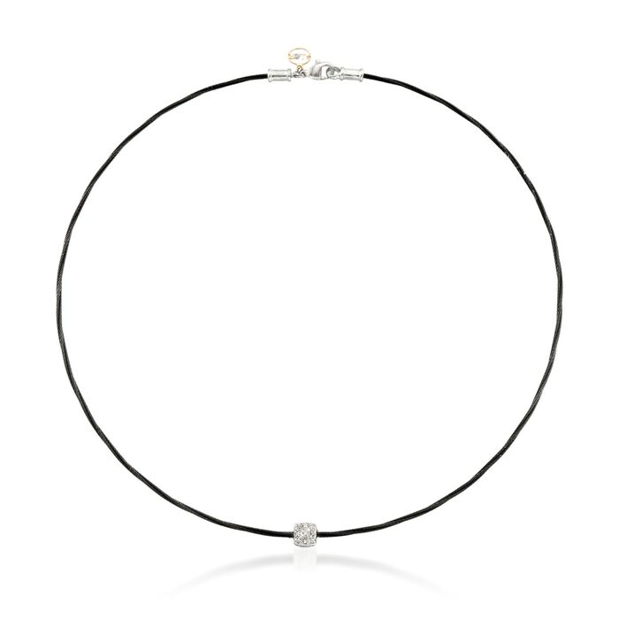 """ALOR Noir Black Stainless Steel Cable Necklace With Diamond Station in 18-Karat White Gold. 17"""", , default"""