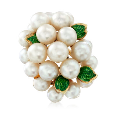 C. 1970 Vintage Cultured Pearl and Green Enamel Cluster Ring in 14kt Yellow Gold, , default