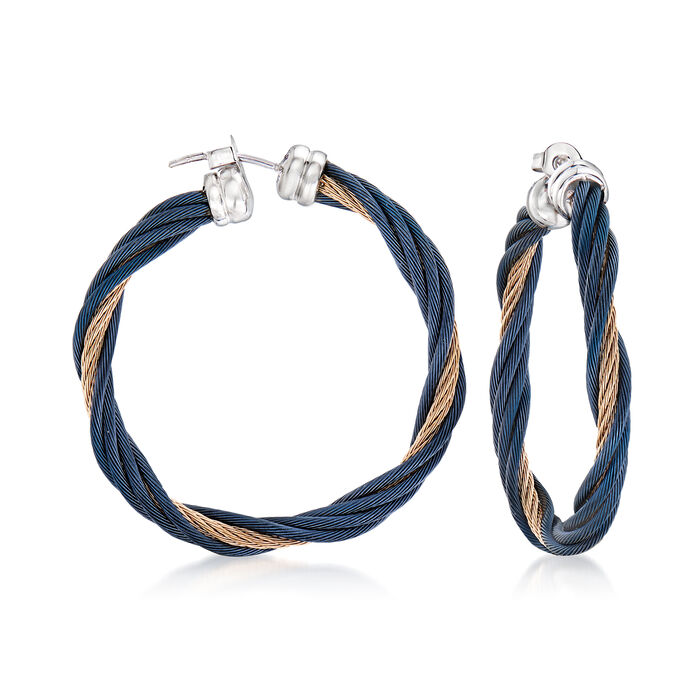ALOR Blue and Carnation Stainless Steel Twisted Cable Hoop Earrings with 18kt White Gold
