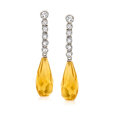 C. 1970 Vintage 4.00 ct. t.w. Citrine and .75 ct. t.w. Diamond Drop Earrings in Platinum