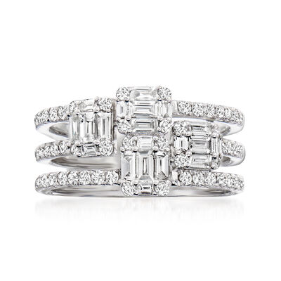C. 1990 Vintage 2.00 ct. t.w. Diamond Multi-Row Ring in 18kt White Gold