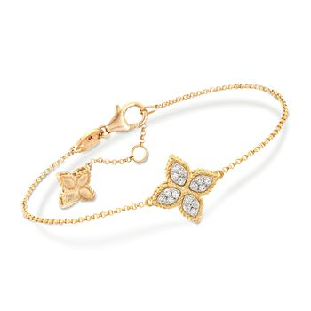 "Roberto Coin Princess Flower 18-Karat Yellow Gold Charm Bracelet With Diamond Accents. 7"", , default"