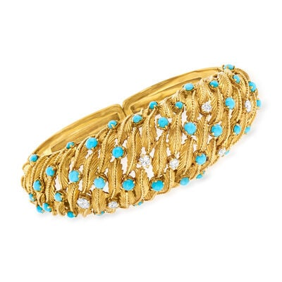 C. 1970 Vintage Turquoise and .75 ct. t.w. Diamond Leaf Cuff Bracelet in 18kt Yellow Gold, , default