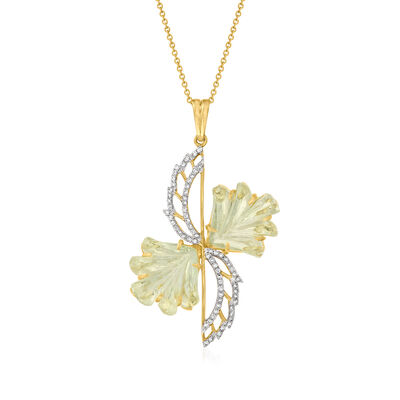C. 2000 Vintage 10.92 ct. t.w. Green Quartz and .40 ct. t.w. Diamond Flower Pendant Necklace in 14kt Yellow Gold