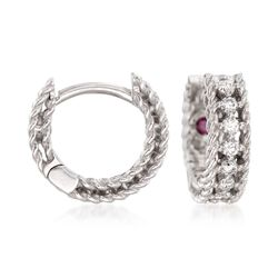 "Roberto Coin ""Symphony"" .26 ct. t.w. Diamond Huggie Hoop Earrings in 18kt White Gold, , default"