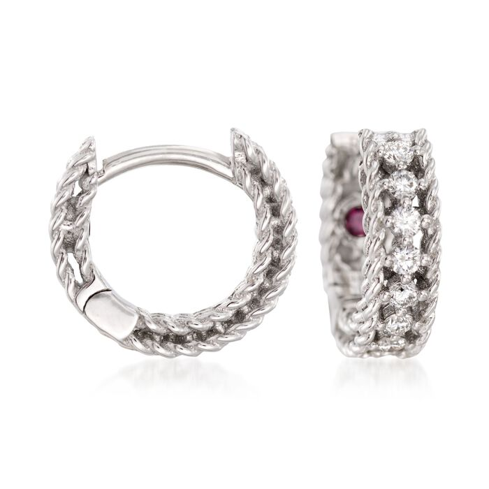 Roberto Coin Symphony .26 Carat Total Weight Diamond Huggie Hoops in 18-Karat White Gold, , default