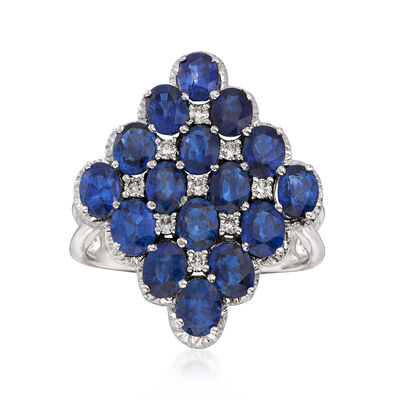 C. 1980 Vintage 5.40 ct. t.w. Sapphire and .20 ct. t.w. Diamond Cluster Ring in 18kt White Gold, , default