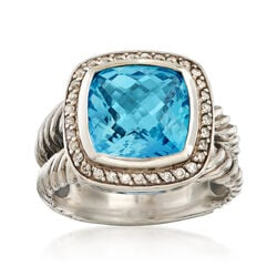 C. 1990 Vintage David Yurman 7.25 Carat Blue Topaz and .25 ct. t.w. Diamond Ring in Sterling Silver, , default