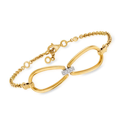Roberto Coin .15 ct. t.w. Diamond Link Bracelet in 18kt Yellow Gold