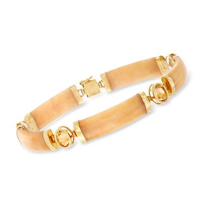 C. 1990 Vintage Yellow Jade and 3.20 ct. t.w. Citrine Bracelet in 14kt Yellow Gold, , default