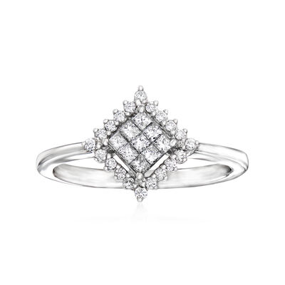 C. 1990 Vintage Giantti .30 ct. t.w. Diamond Cluster Ring in 18kt White Gold